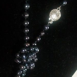 Jewelry - Long Black Faux Freshwater Pearl Bead Necklace